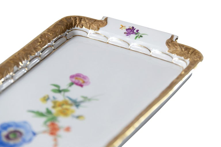 Gilt Meissen Hand Painted Gilded Porcelain Plate/Tray For Sale