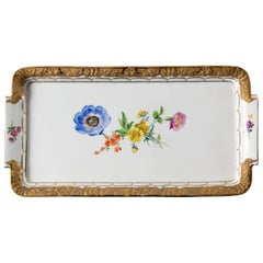 Meissen Hand Painted Gilded Porcelain Plate/Tray