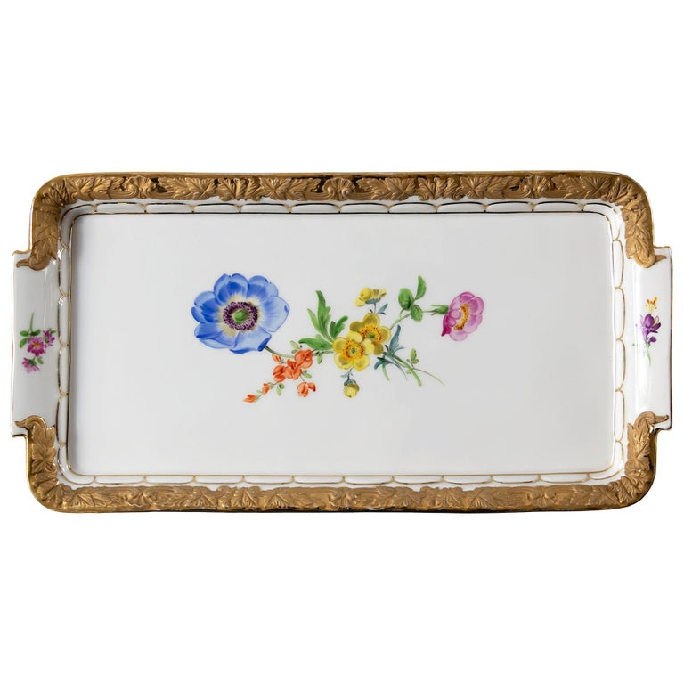 Meissen Hand Painted Gilded Porcelain Plate/Tray For Sale