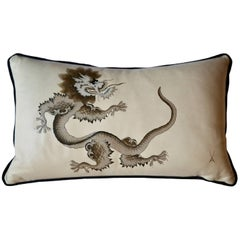 Meissen Hand Painted Leather Dragon Cushion