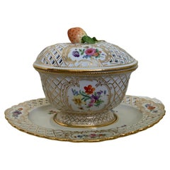 Meissen Hand Painted Porcelain Gravy/Sauce Reticulated Oval Tureen