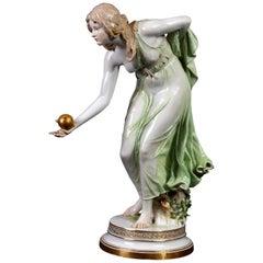 """Meissen Hand Painted Porcelain Maiden Figure """"Kugelspielerin"""""""