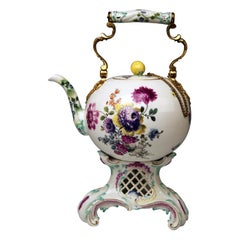 Meissen Huge Tea Pot and Warmer Rococo Period Flowers Paintings Höroldt Era 1750