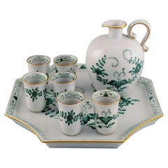 Meissen Indian Green Sake / Schnapps Set on Tray in Hand-Painted Porcelain