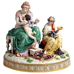 Meissen Large Porcelain Figurine Group 'Cupid Is Tied Up' by Juechtzer