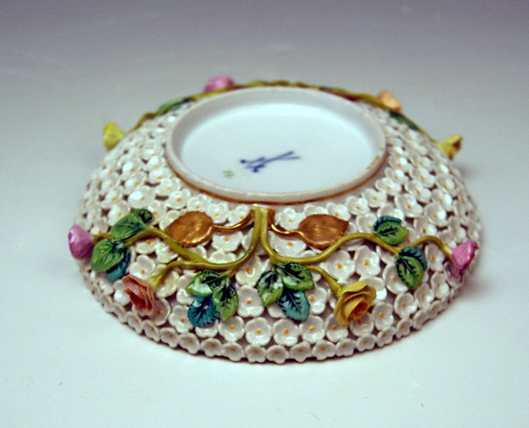 Painted Meissen Lidded Cup Saucer Snowball Pattern Canaries Rose Flowers
