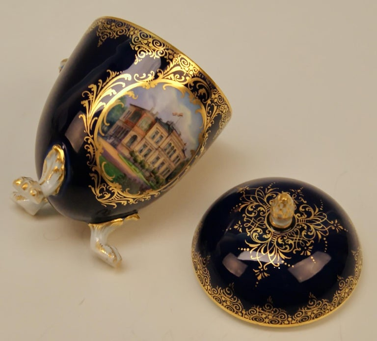 Porcelain Meissen Lidded Egg Cup Saucer Castle View Dresden Germany Flower Paintings, 1870 For Sale