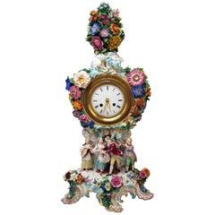 Meissen Mantel Clock Flowers Figurines Model 1047 Leuteritz Height 25.98 inches