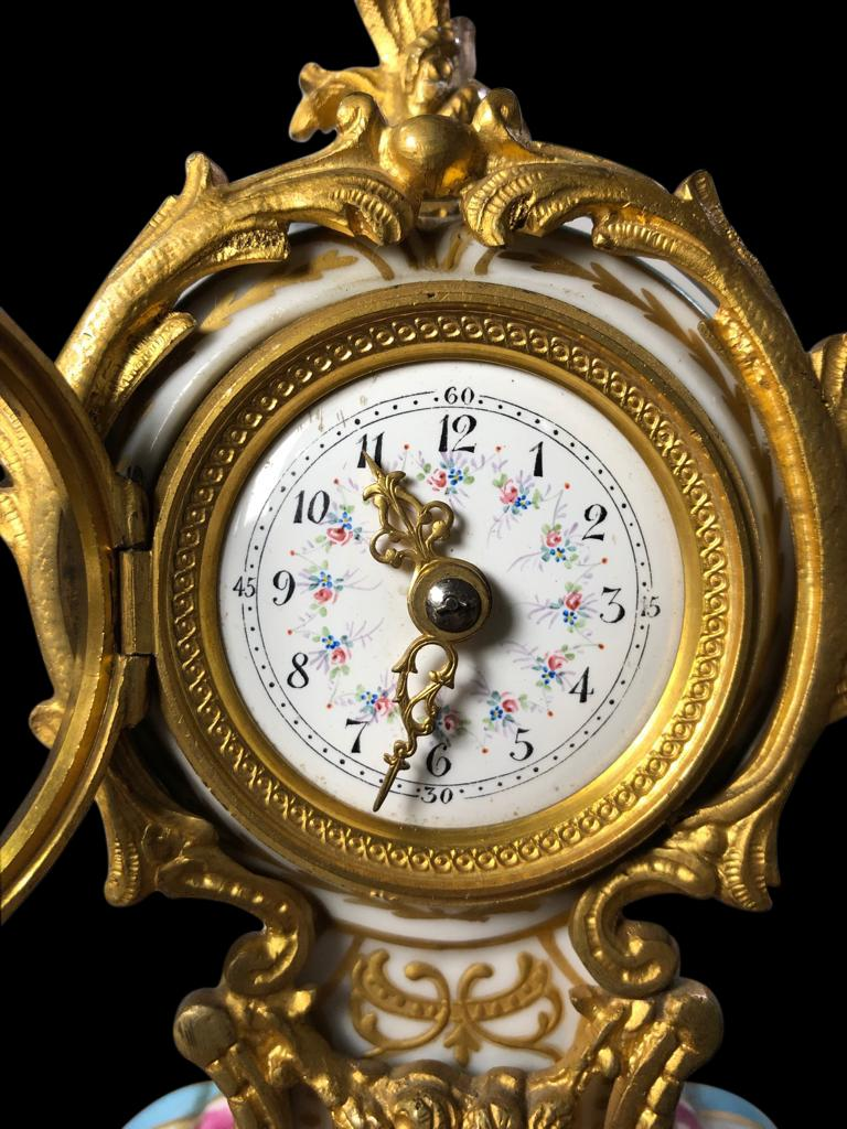 French Meissen Mantle Table Clock, 19th Century For Sale