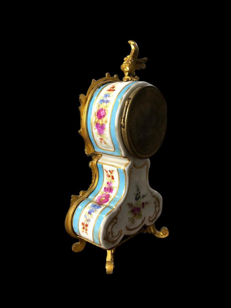Porcelain Meissen Mantle Table Clock, 19th Century For Sale