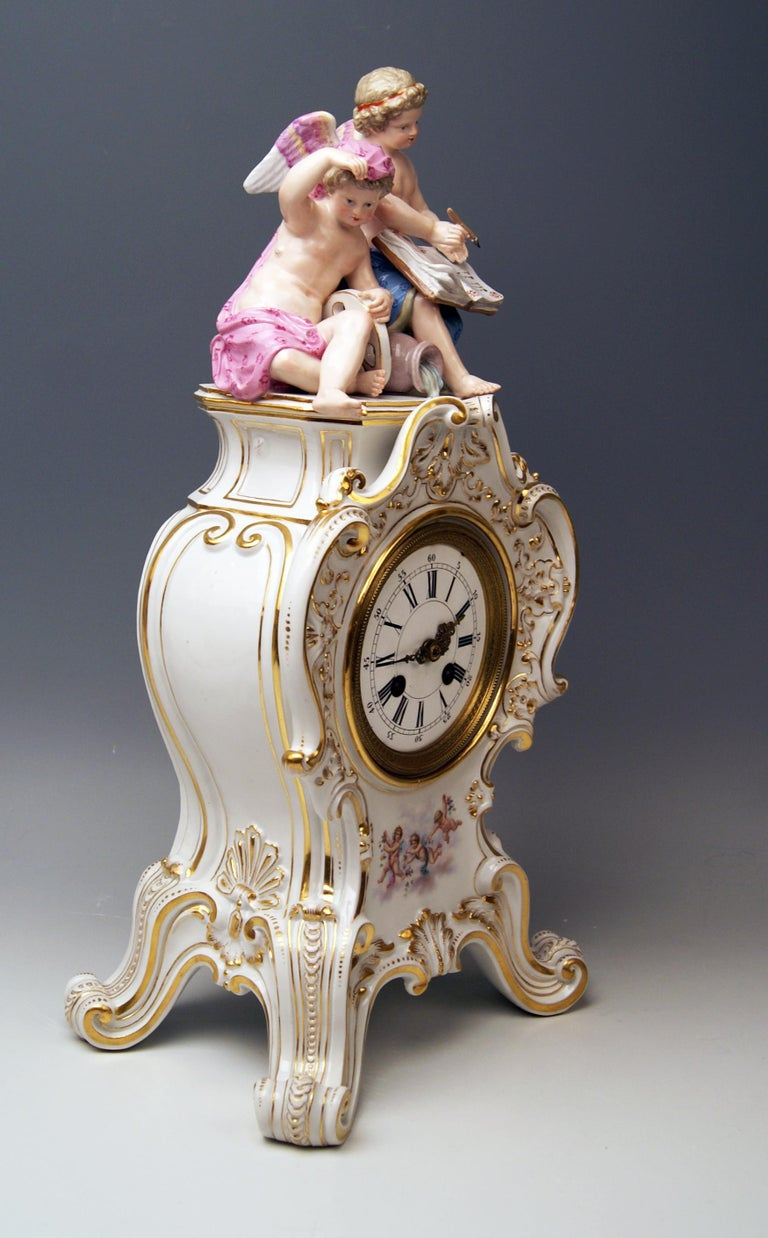 Rococo Revival Meissen Mantle Table Clock Allegory of Water Ernst August Leuteritz, circa 1880 For Sale