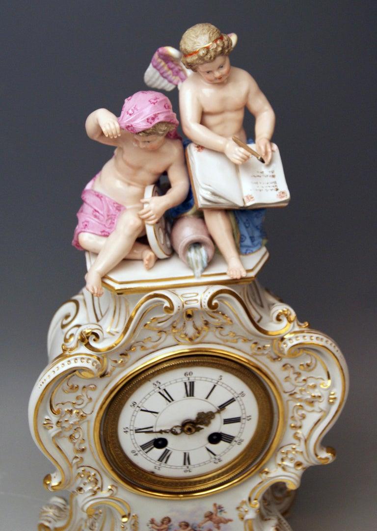 Austrian Meissen Mantle Table Clock Allegory of Water Ernst August Leuteritz, circa 1880 For Sale