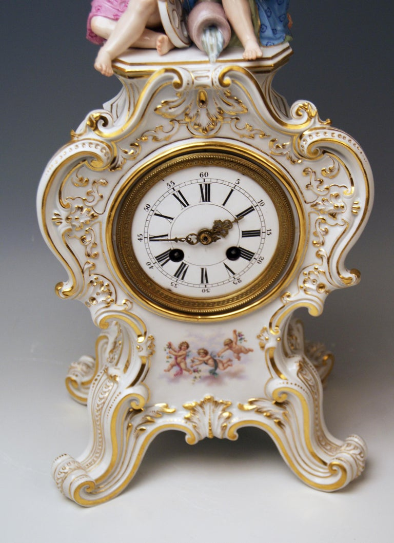Painted Meissen Mantle Table Clock Allegory of Water Ernst August Leuteritz, circa 1880 For Sale