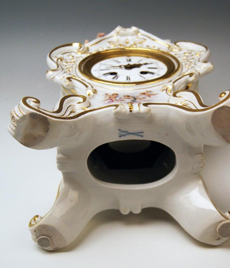 19th Century Meissen Mantle Table Clock Allegory of Water Ernst August Leuteritz, circa 1880 For Sale