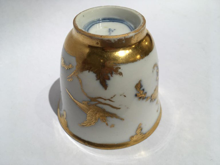 Meissen Mid-18th Century Cup White Porcelain with Golden Drawings Japonese Style For Sale 6