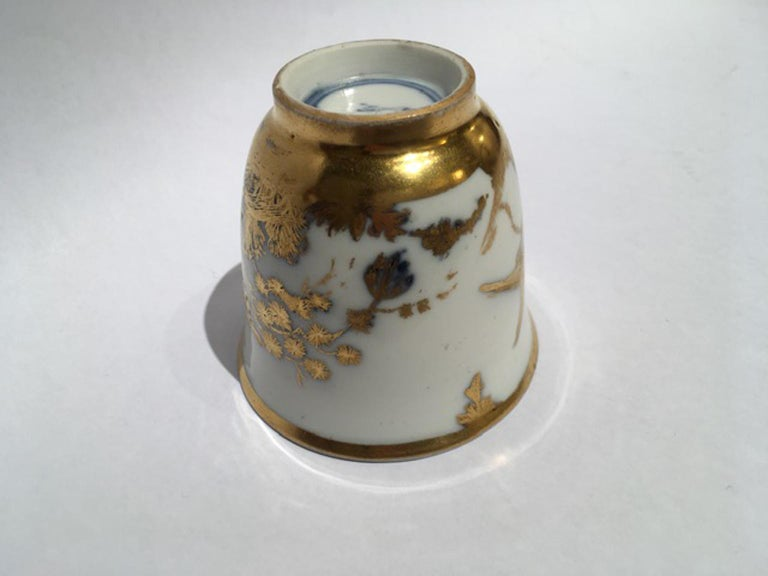 Meissen Mid-18th Century Cup White Porcelain with Golden Drawings Japonese Style For Sale 11