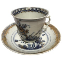 Meissen Mid-18th Century Porcelain Cup with Dish White Blue and Gold