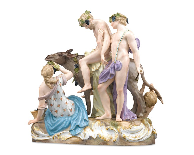 This exceptional Meissen Porcelain group exhibits that renowned firm's mastery of mythological themes. Crafted in the exuberant Rococo style for which Meissen was famed, this group depicts the drunken Silenus, seated astride a donkey and supported