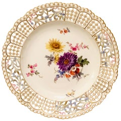 Meissen Open Work Cabinet Plate Painted with a Bouquet and Raised Forget Me Nots