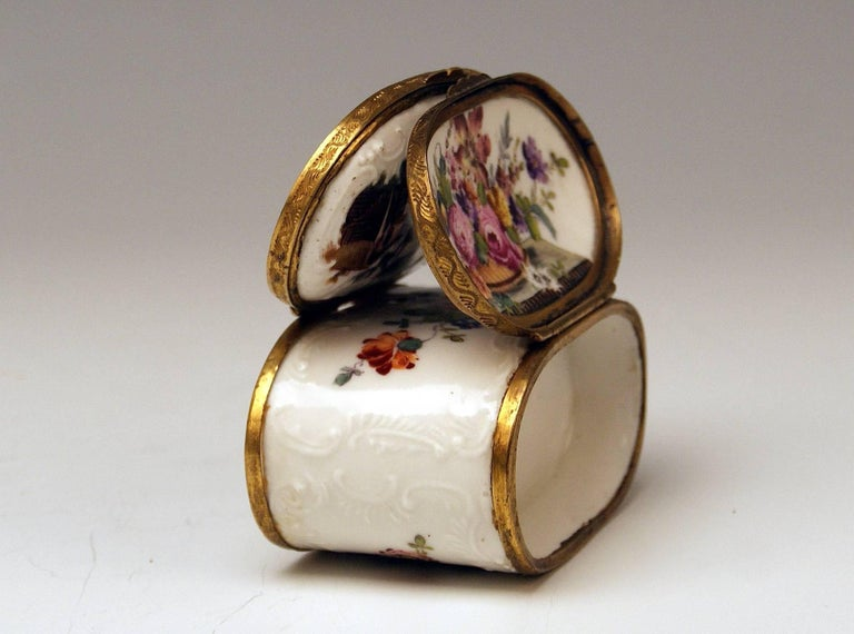 Meissen Painted Dual Lidded Rococo Box Relief Decoration Brass Mountings, 1750 For Sale 7