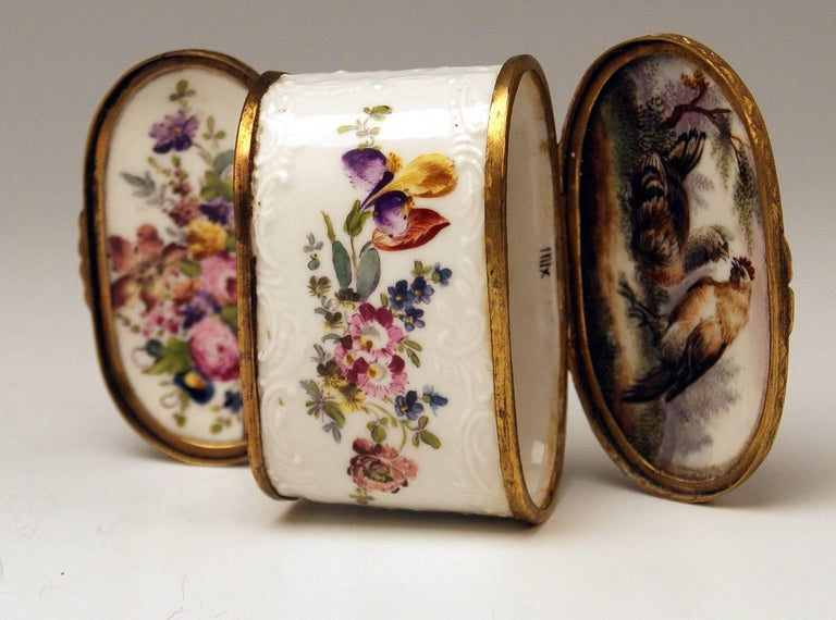 Meissen Painted Dual Lidded Rococo Box Relief Decoration Brass Mountings, 1750 For Sale 8