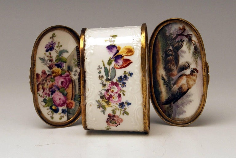 Meissen Gorgeous Dual Lidded Rococo Box with Multicolored Paintings and Decorations of Relief Type.  The box is edged by brass mountings.   height:  6.0  cm   (= 2.36 inches)  width:   8.0  cm   (= 3.14 inches)  depth:   4.5  cm   (= 1.77 inches)
