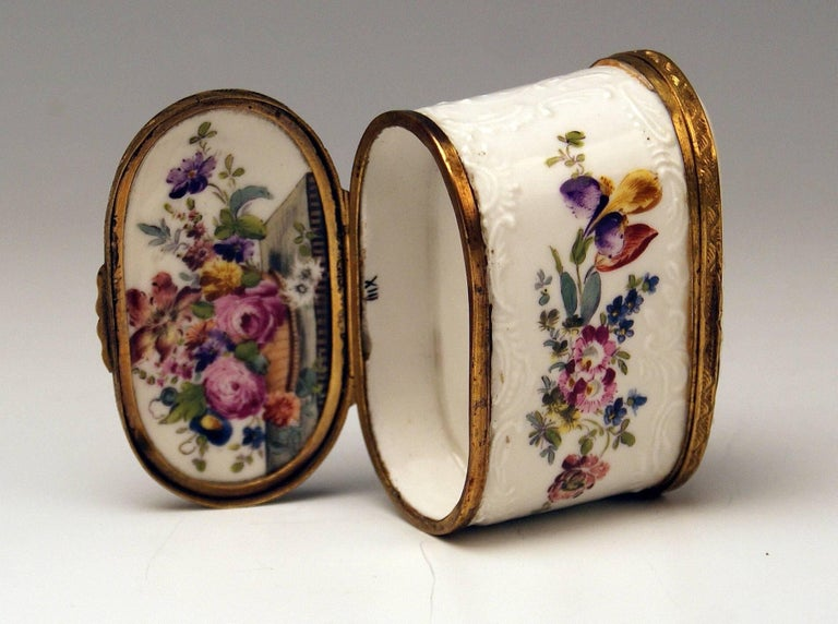 Meissen Painted Dual Lidded Rococo Box Relief Decoration Brass Mountings, 1750 For Sale 1