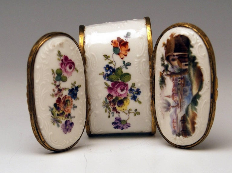 Meissen Painted Dual Lidded Rococo Box Relief Decoration Brass Mountings, 1750 For Sale 3