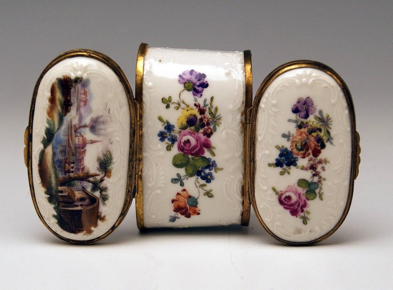 Meissen Painted Dual Lidded Rococo Box Relief Decoration Brass Mountings, 1750 For Sale 4