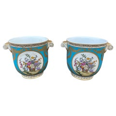 Meissen Pair of Cachepots Planters Flower Blossoms, 20th Century