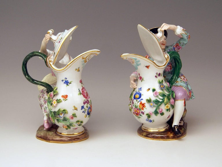 MEISSEN STUNNING PAIR OF FIGURINES OF VERY INTERESTING APPEARANCE:  PEASANT AND PEASANT WOMAN WITH JUG / PITCHER MODELS 1234 & 907  MEASURES: PEASANT WOMAN height: 7.87 inches  (= 20.0 cm) width:   5.31 inches  (= 13.5 cm) depth:  3.54 inches  (=
