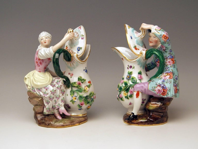 German Meissen Pair of Figurines with Jug Pitcher by Eberlein Models 1234 907 made 1850 For Sale