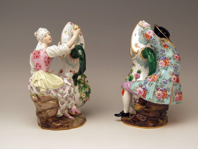 Painted Meissen Pair of Figurines with Jug Pitcher by Eberlein Models 1234 907 made 1850 For Sale