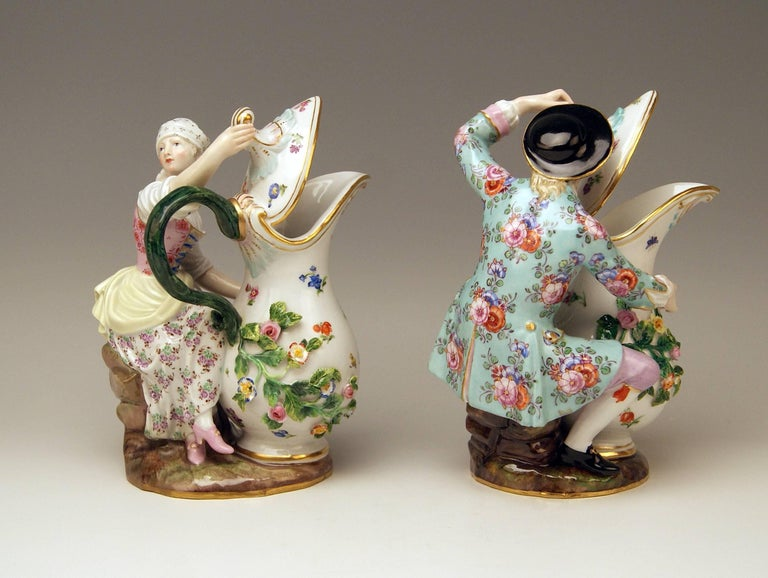 Meissen Pair of Figurines with Jug Pitcher by Eberlein Models 1234 907 made 1850 In Excellent Condition For Sale In Vienna, AT