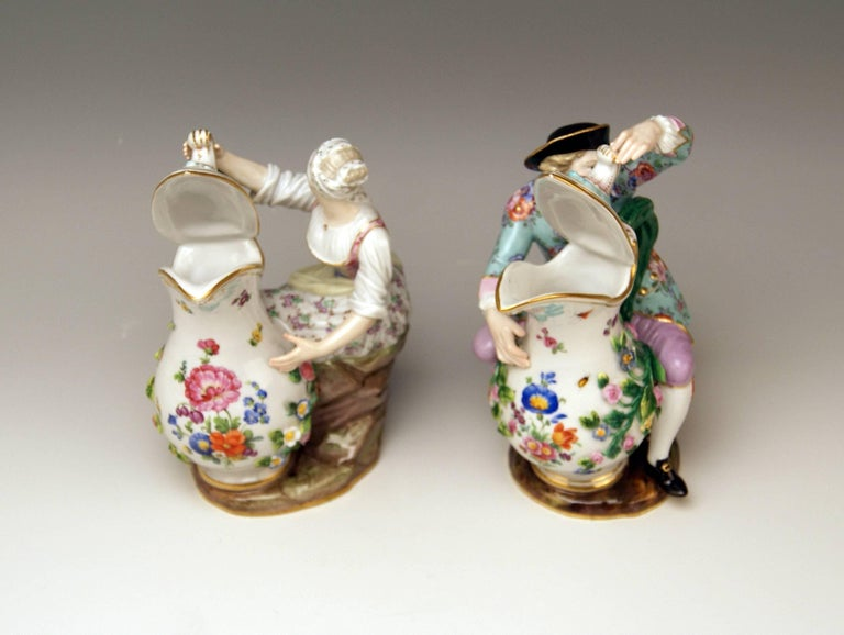 19th Century Meissen Pair of Figurines with Jug Pitcher by Eberlein Models 1234 907 made 1850 For Sale