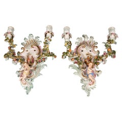 Meissen Pair of Sconces with Cupids and Flower Decoration, by Kaendler, ca. 1860