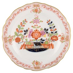 Meissen Plate in Hand Painted Porcelain with Floral Decoration and Gold Edge