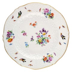 Meissen Plate in Hand Painted Porcelain with Flowers and Birds, 19th Century