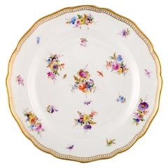 Meissen Plate in Hand Painted Porcelain with Flowers and Gold Edge
