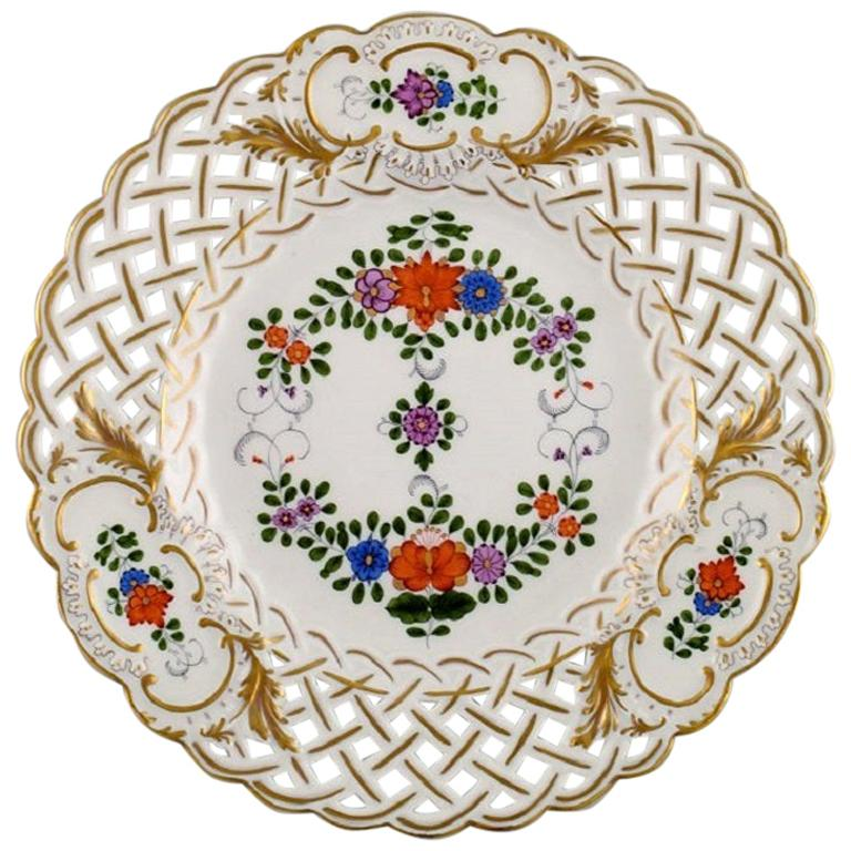 Meissen Plate in Openwork Porcelain with Hand Painted Flowers, 1920s