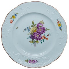 Meissen Plate with 'New Spanish' Moulded Rim, Flowers, circa 1760