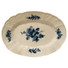 Meissen Platter with a Finely Painted Blue Bouquet of Flowers in the Center