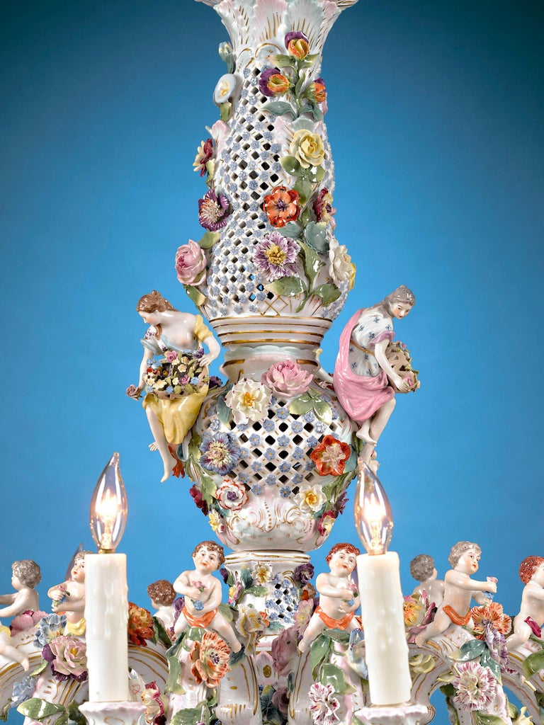German Meissen Porcelain 12-Light Chandelier For Sale