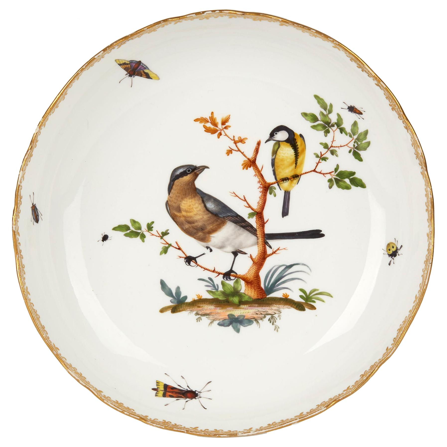 Meissen Porcelain Bowl Painted with Birds and Insects, 19th Century