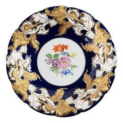 Meissen Porcelain Cobalt and Gold Deep Cabinet Plate/Bowl