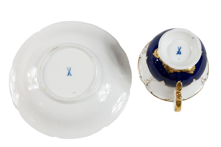 Gilt Meissen Porcelain Coffee Cup with Saucer For Sale