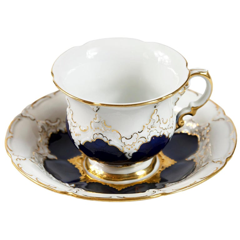 Meissen Porcelain Coffee Cup with Saucer For Sale