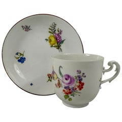 Meissen Porcelain Cup and Saucer, circa 1740