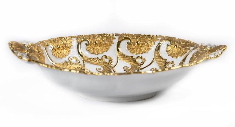 German Meissen Porcelain Deep Cabinet Plate / Bowl with Handles For Sale