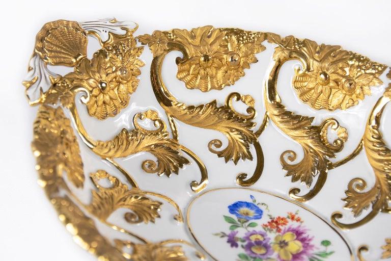 Gilt Meissen Porcelain Deep Cabinet Plate / Bowl with Handles For Sale